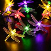 Outdoor Solar Powered LED Dragonfly String Light Garden Xmas Yard Lamp Decor SPD