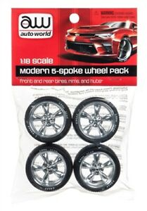 Auto World Modern 5 spoke Wheel pack set for 1:18 scale diecast vehicles