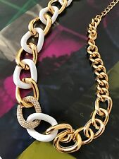 Kate Spade NY White Gold Crystal Curb Links Chain Of Events Necklace WBRUC333