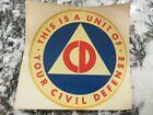 "Original VINTAGE 1960's-70's Civil Defense 4 "" Window Decal/Sticker Unused LOOK"