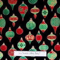 Christmas Carols Metallics Fabric - Red & Green Bulbs on Black - Wilmington YARD