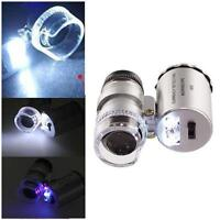 60 X Pro Mini Pocket Mikroskop Lupen Juwelier Lupe LED & UV-Licht Mikrosk L U2G9