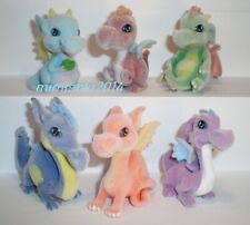 Velvety (flocked) toy - PET ZOO - DRAGONS - Complete set + 6 Cards + BPZ