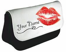 Personalised girls ladies Cute Kiss Pencil Case make up bag school xmas Birthday