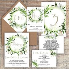 Personalised Luxury Rustic Wedding Invitations GREENERY/LEAVES/WHITE packs of 10