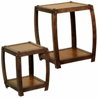 Industrial Curved Wooden Bolted Metal Nest of Tables Side Coffee End - Set Of 2