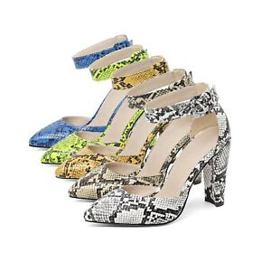 Women's High Heel Pointed Shoes Faux Snakeskin Ankle Strap D'Orsay Pumps AU Size