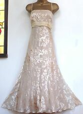 MONSOON ✩  STUNNING MARIE IVORY GOLD DEVORE SILK CHIFFON DRESS ✩ UK 16 BNWT