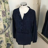 White Stuff Size 14 navy denim look chambray style shirt long sleeve embroidered