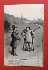 CPA. 1909. Rhumatismes. Médecin. Docteur. Béquilles. Illustrateur R. C. Humour.