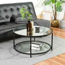 Round Glass Coffee Table With Glass Top & Shelf Black Metal Legs From HARVEYS