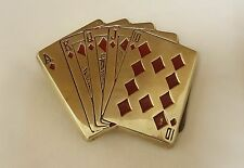 "Vintage Baron BBB Solid Brass Poker ROYAL FLUSH Playing Cards Belt Buckle 3.5"""