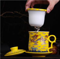 NEW Yellow Dragon Ceramic Porcelain Tea Cups Coffee Mug with Infuser&lid&saucer