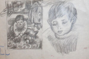 Vintage pencil drawing child portrait