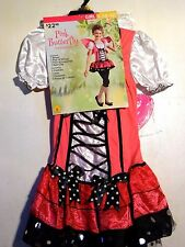 Girls S 4-6 Pink Butterfly Wings Halloween Costume Trick or Treat Costume
