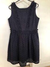 Girls BARDOT JUNIOR Navy Blue Boderie Cotton Dress Size 14