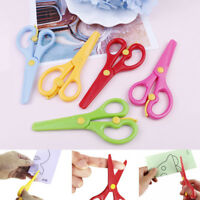 Kids safety round head plastic scissors student paper cutting minions supplies H