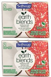2X Packs Softsoap Earth Blends Coconut & Fig Bar Soap 4 Bars Total 4 oz Each