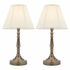 PAIR OF Mercator Molly Touch Dimmable Bedside Table Lamps Antique Brass A48611AB