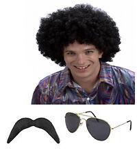 1980 S 80 S Scouser Noir Afro Perruque + moustache + Lunettes De Soleil Aviateur robe fantaisie Set