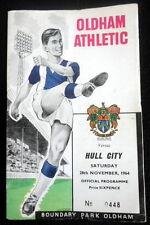 Oldham Athletic v  Hull City  28-11-1964