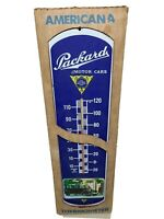 "VTG Packard Motor Cars Metal Thermometer Advertising Wall Mount Sign - 27 x 8""."