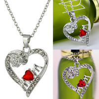 Charm Mother's Day Gift for Mom Friend Red Crystal Heart Necklace Pendant