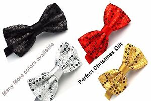 Bow Tie Glitter Sparkly Sequin Dickie Dicky Dance Party Fancy Christmas Gift