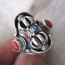 MAGNIFICENT SPINNING DORJE RING STERLING SILVER REAL CORAL  TIBET NEPAL