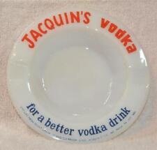 """Vintage Milk Glass JACQUIN's VODKA Bar Round 5"""" Cigarette Ashtray"""