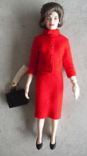 "Franklin Mint Vinyl Jackie Kennedy in Red Wool Outfit Doll 15"" Tall Look"
