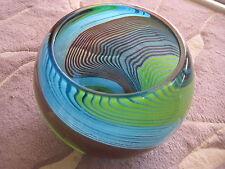 "Art Glass Crystal Multiple Color Swirl Rose Bowl Vase, 7"" Tall X 9 1/2"" W"