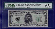1934 $5 Federal Reserve Note Cleveland (MULE) PMG GEM 65 EPQ CU UNC