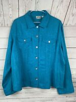 Sz 2 CHICOS Womens Teal blue Textured Floral Button Front Jacket career Linen