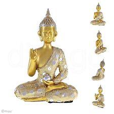 Thai Buddha Mit Schüssel Silber Gold Dekofigur Höhe Ca 22 Cm