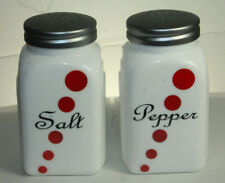 New Arch Red Dot Depression Vintage Style Milk Glass Salt and Pepper Shakers Set