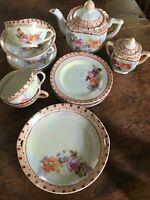Vintage Childs Tea Set Floral Decorated Luster