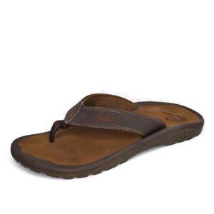 Olukai Ohana Brown Synthetic Flip Flop Comfort  Sandals Mens US 10 EU 43