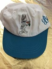 Vintage Bugs Bunny Looney Toons Cap 1995 Stretchable back 90's White/Teal