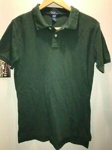 Boys Polo Ralph Lauren Shirt Green Stripe Size L 16/18 Excellent Condition