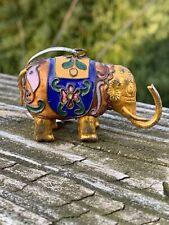Cloisonne Elephant Gold Tusk Up Good Luck Ornament Figurine Statue Rare 2/3 ��m9