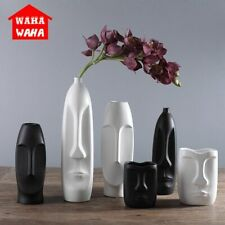 Nordic Minimalist Ceramic Abstract Vase Black And White Human Face Creative Vase