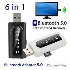 6 in 1 USB Bluetooth 5.0 Audio Transmitter/Receiver Adapter For TV/PC/Phone/Car