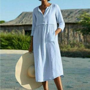 New Ladies Italian Lagenlook Panel Insert Scoop Neck 2 Pocket Linen Womens Dress