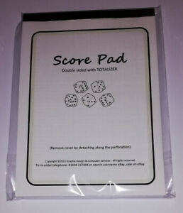 SCORE PAD for YAHTZEE - A6 SIZE - 6 or 12 GAMES - 50+ Pages - Minor Typo fault