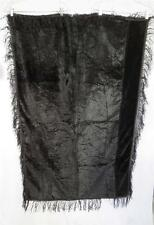 "RARE FRENCH ANTIQUE VICTORIAN BLACK SILK VELVET SHAWL OR TABLE CLOTH 54"" X 36"""