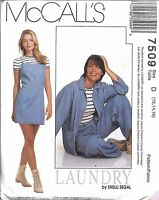 7509 UNCUT Vintage McCalls Sewing Pattern Misses Jacket Slip Dress T Shirt Pants