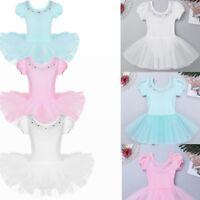 Kids Girls Gymnastics Ballet Dress Leotard Tutu Skirt Dancewear Toddler Costume