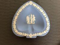 "Wedgwood Jasperware Spade Tray Ashtray Pin Trinket Blue Plate 4.5"" Angel Knight"