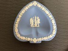 "Wedgwood Jasperware Blue Ashtray Spade Pin Trinket Plate 4.5"" Angel Knight"